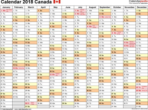 Vacation Spreadsheet Template 2018 Regarding Canada Calendar 2018  Free Printable Excel Templates
