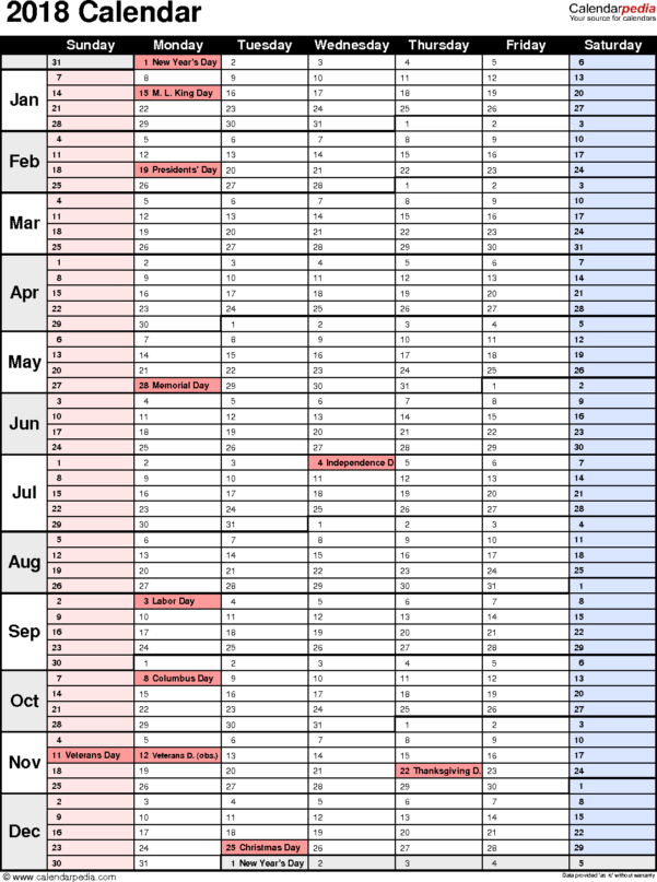 Vacation Spreadsheet Template 2018 Throughout 2018 Calendar  Download 17 Free Printable Excel Templates .xlsx