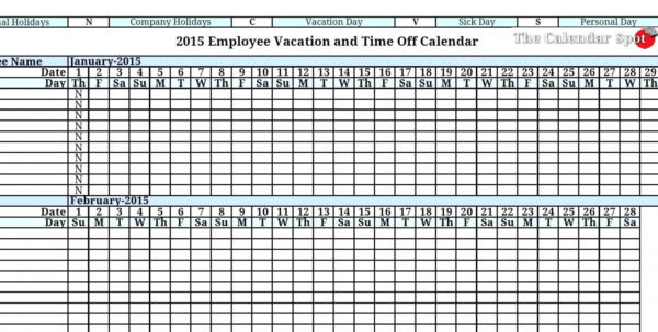 Vacation Spreadsheet Template Pertaining To 014 Employee Vacation Planner Template Excel Ideas Business
