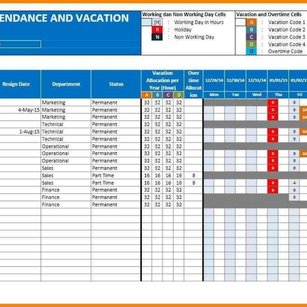 Vacation Spreadsheet Template Pertaining To 5  Employee Vacation Tracking Spreadsheet Template  Cashier Resumes
