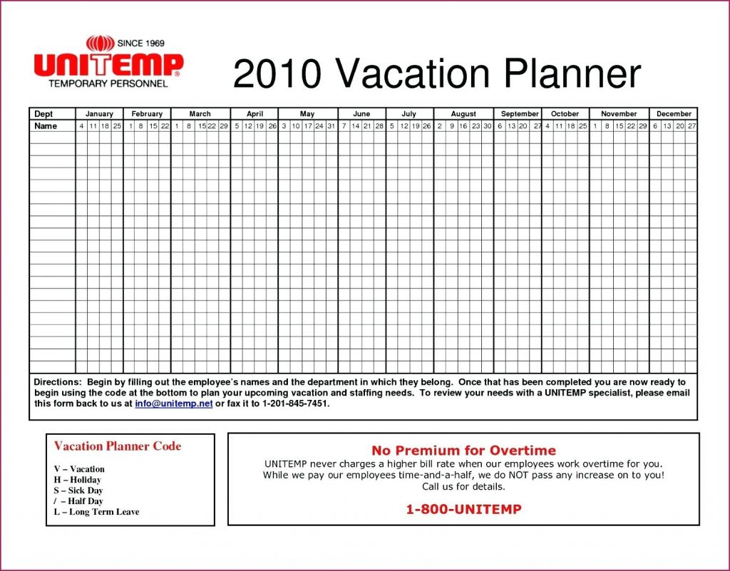 Vacation Spreadsheet Template Pertaining To Template A3 Project Management Annual Leave Planner Excel Elegant