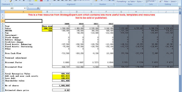Valuation Spreadsheet Mckinsey Intended For Dcf Model Excel  Hashtag Bg