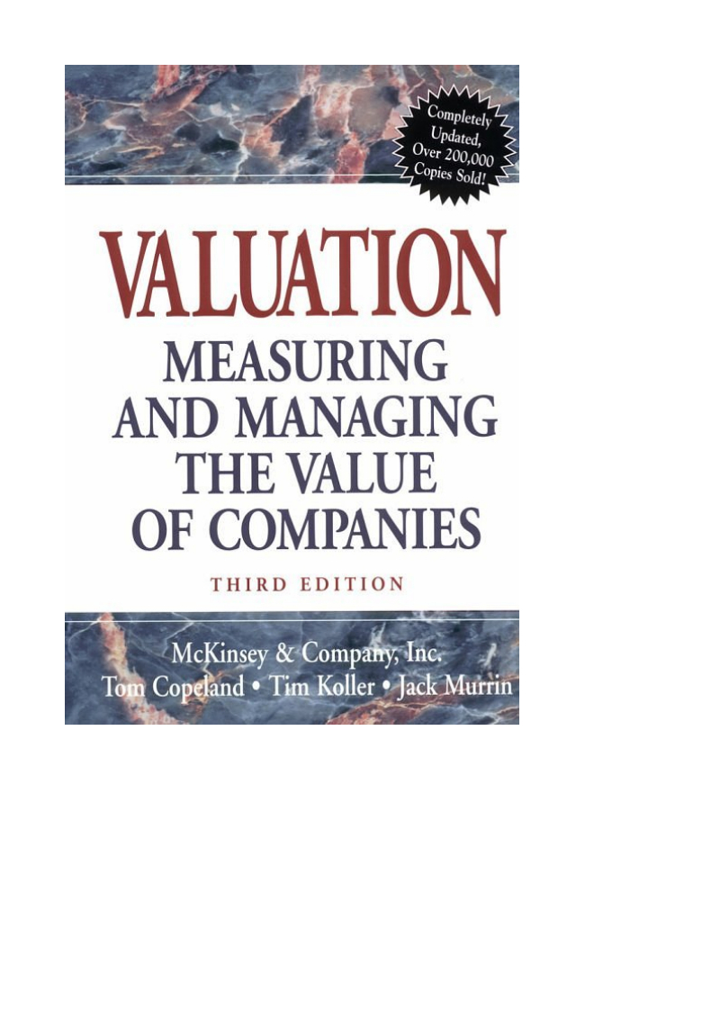 Valuation Spreadsheet Mckinsey Pertaining To Valuation Measuring And Managing The Value Of Companies  3Rd