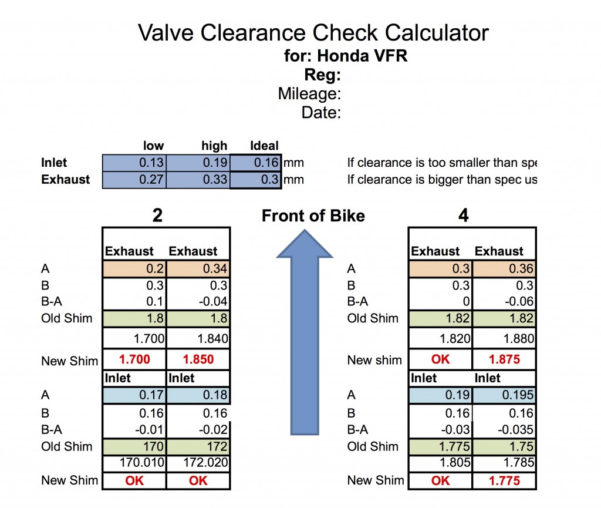 Valve Shim Spreadsheet Within How2: Vfr800 Valve Clearance Check  Shinysideup