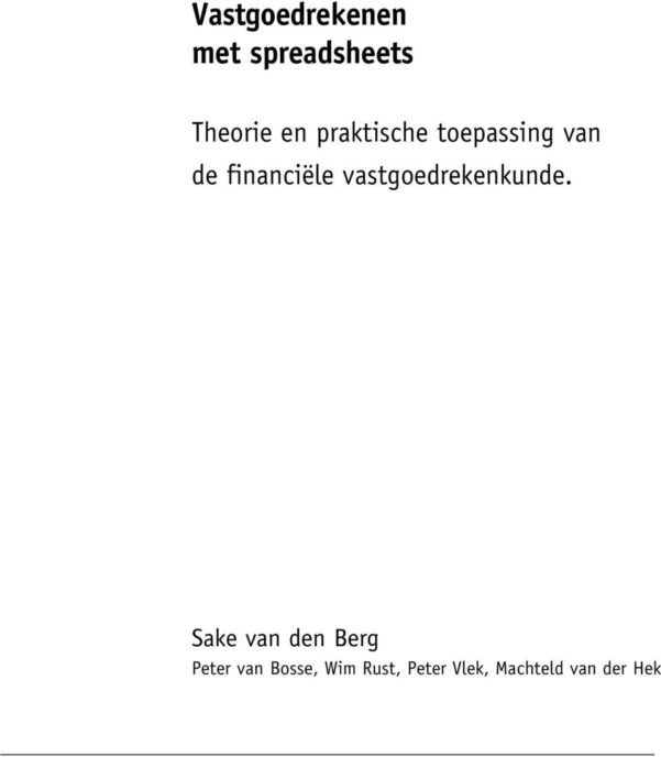 Vastgoedrekenen Met Spreadsheets Pdf Regarding Vastgoedrekenen Met Spreadsheets  Pdf