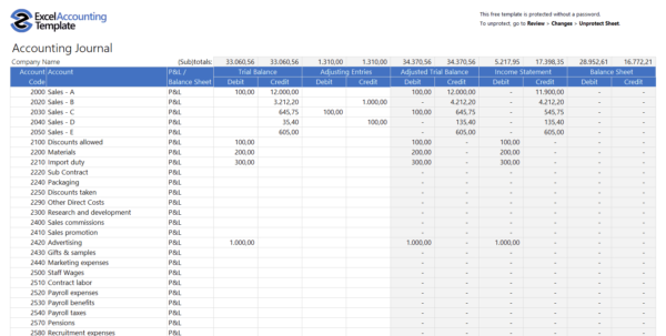 Vat Bookkeeping Spreadsheet Within Free Accounting Templates In Excel  Download For Your Business