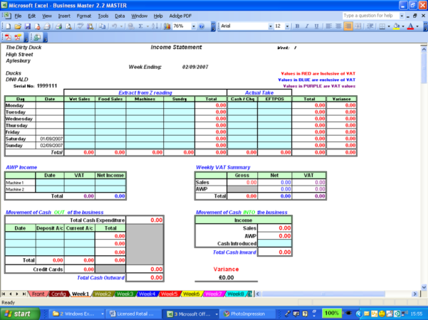 Vat Reconciliation Spreadsheet Regarding Licensed Retail Manager