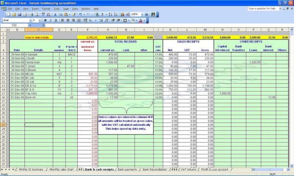 Vat Spreadsheet Inside Double Entry Bookkeeping Spreadsheet  Papillon Northwan Within
