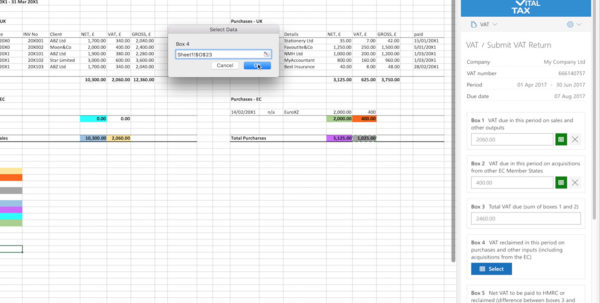 Vat Spreadsheet Template In Vitaltax  Making Tax Digital Mtd For Vat