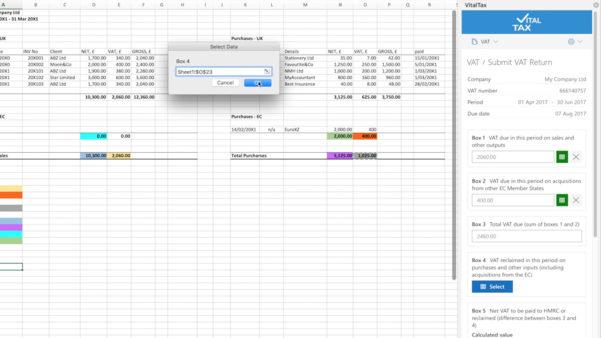 Vat Spreadsheet Template In Vitaltax  Making Tax Digital Mtd For Vat