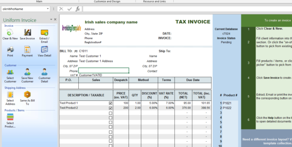 Vat Spreadsheet Template Regarding Irish Sales Vat Invoice Template