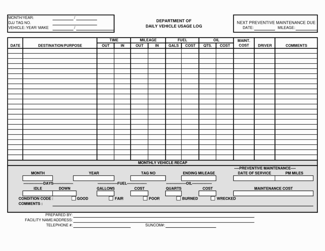 Vehicle Fleet Management Spreadsheet Pertaining To Truck Maintenance Spreadsheet Fleet Management Excel Free Template