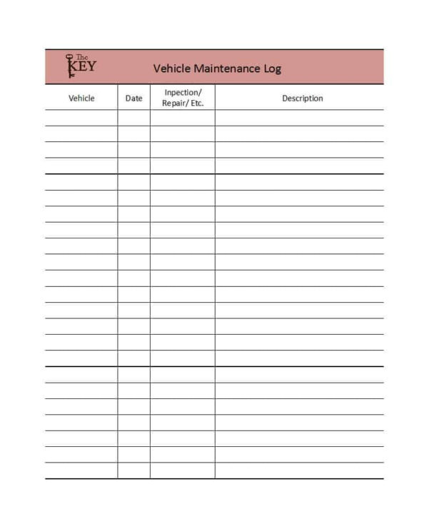 Vehicle Fuel Log Spreadsheet With Regard To 40 Printable Vehicle Maintenance Log Templates  Template Lab