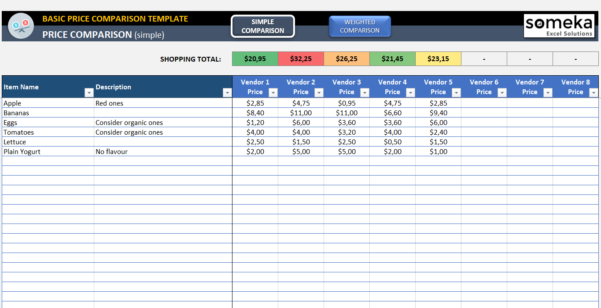 Vendor Comparison Spreadsheet Template With Basic Price Comparison Template For Excel  Free Download