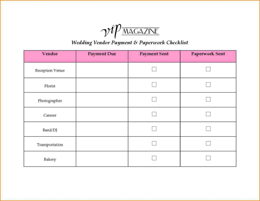 Vendor Spreadsheet With Regard To Blood Sugar Spreadsheet And 8 Wedding Vendor List Wedding