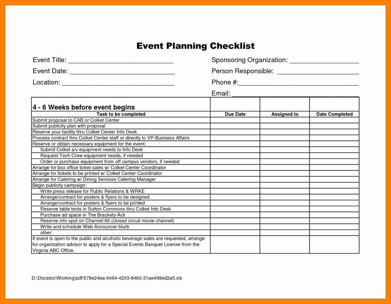 Vendor Spreadsheet Within 8  Event Planning Checklist Spreadsheet  Business Opportunity Program