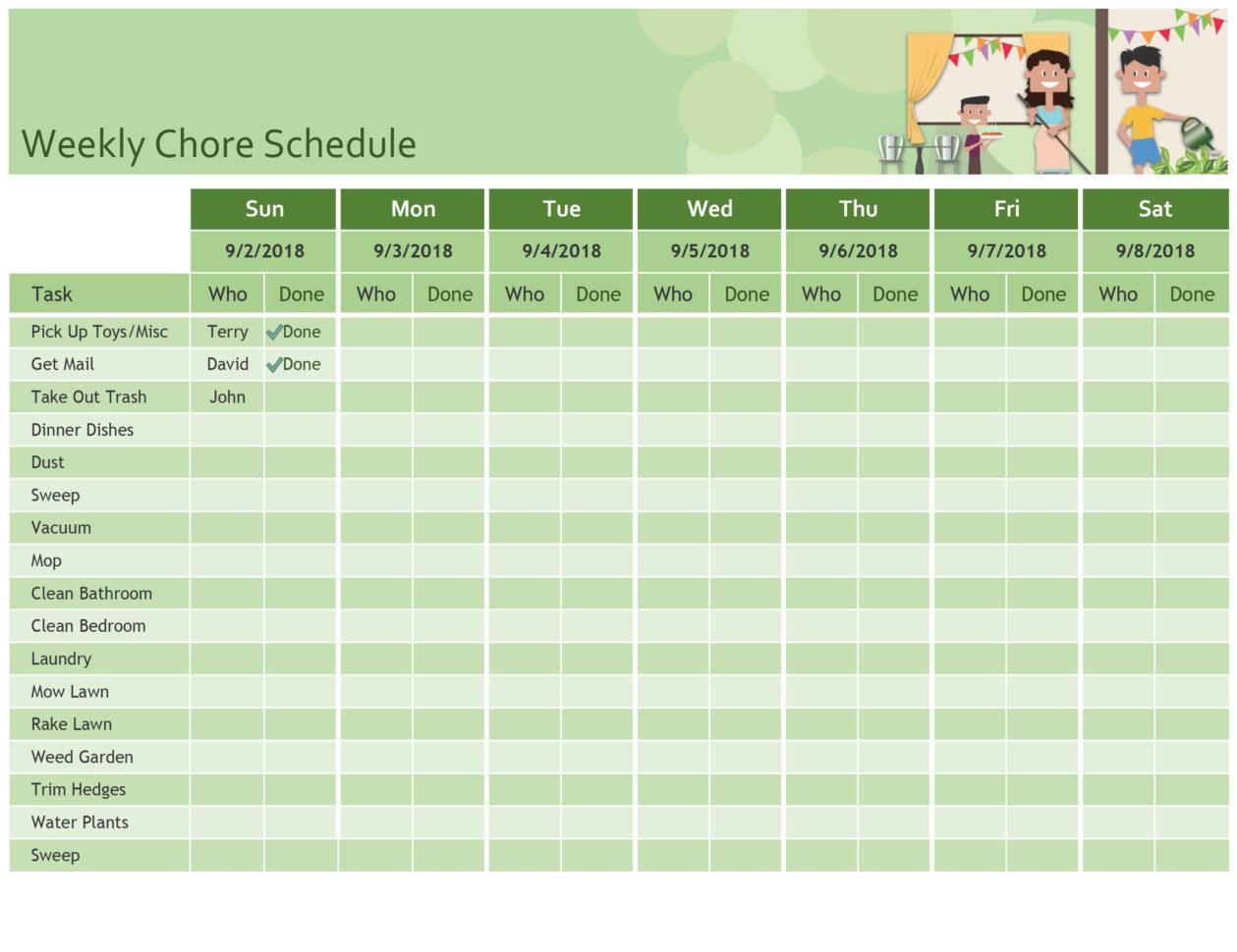 hours schedule template