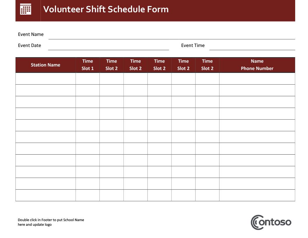 Volunteer Schedule Spreadsheet Regarding Schedules  Office