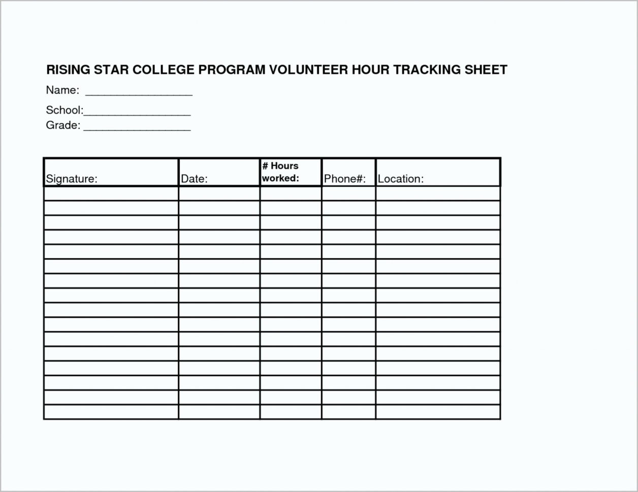 Volunteer Spreadsheet Template Throughout 019 Volunteer Hours Log Template Excel New Famous Work S Entry Level