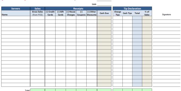 Waitress Tip Spreadsheet Within Server Checkout Summary Waitress Tip Spreadsheet Google Spreadsheet