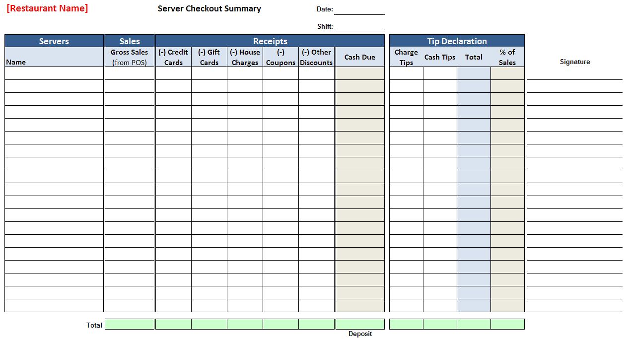 Waitress Tip Spreadsheet Within Server Checkout Summary