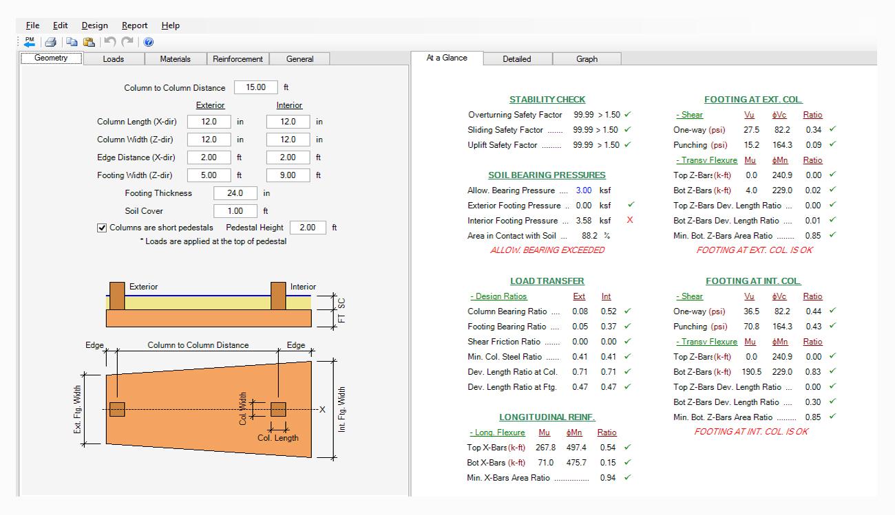Wall Footing Design Spreadsheet Regarding Spread, Combined, Strap Footing Design Software  Asdip Foundation