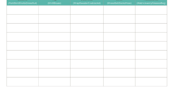 Wardrobe Organizer Spreadsheet For Capsule Wardrobe Planning Worksheets: Essential Wardrobe Tools