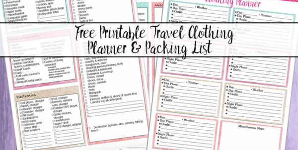 Wardrobe Organizer Spreadsheet Pertaining To Free Printable Vacation Clothing Planner Day/night  Travel