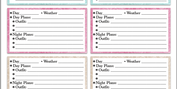 Wardrobe Organizer Spreadsheet With Regard To Free Printable Vacation Clothing Planner Day/night  Travel