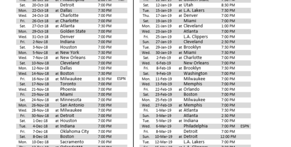 Warriors Schedule Spreadsheet Regarding Here's All 82 Games Of The Bulls' 201819 Schedule  Nbc Sports Chicago