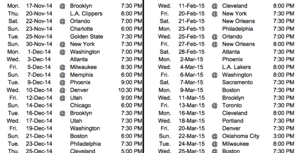 Warriors Schedule Spreadsheet Throughout Nba Schedule Regular Season 20142015 Excel Spreadsheet Template