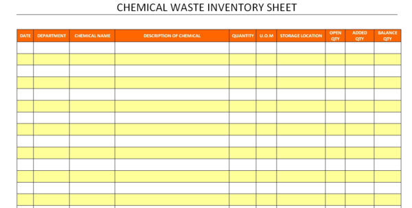 Waste Inventory Spreadsheet For Chemical Inventory Template Excel Database Spreadsheet Sheet