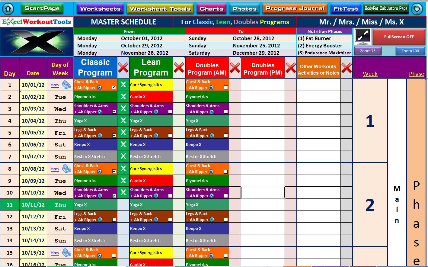 Weather Excel Spreadsheet Regarding P90X « Excel Workout Tools