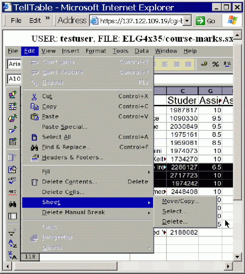 Web Spreadsheet Control Intended For Telltable Spreadsheet Editing Screen. The Spreadsheet Software Is