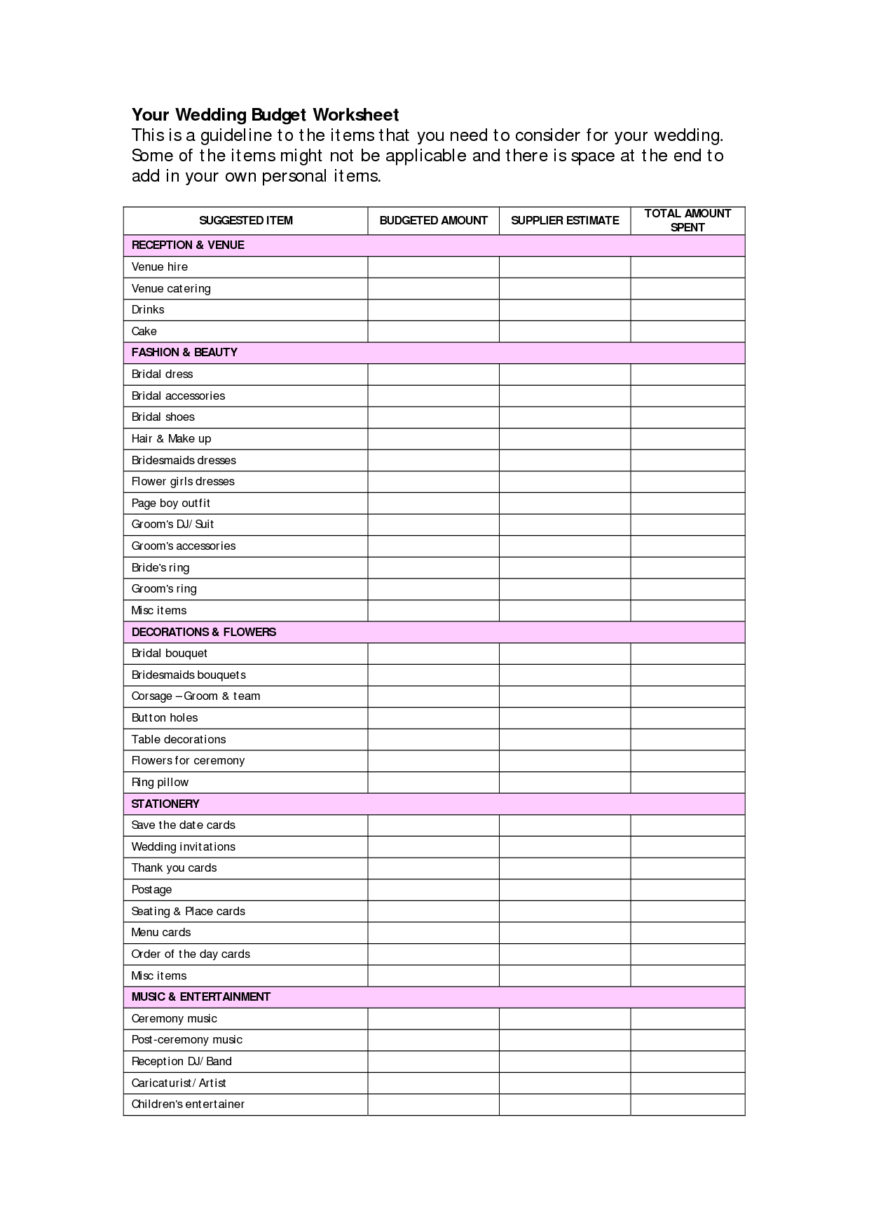 Wedding Budget Breakdown Spreadsheet For Example Of Wedding Budget Breakdowneadsheet Templates Document Info