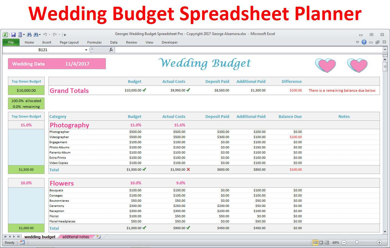 Wedding Budget Breakdown Spreadsheet With Wedding Planner Budget Template Excel Spreadsheet Wedding  Etsy