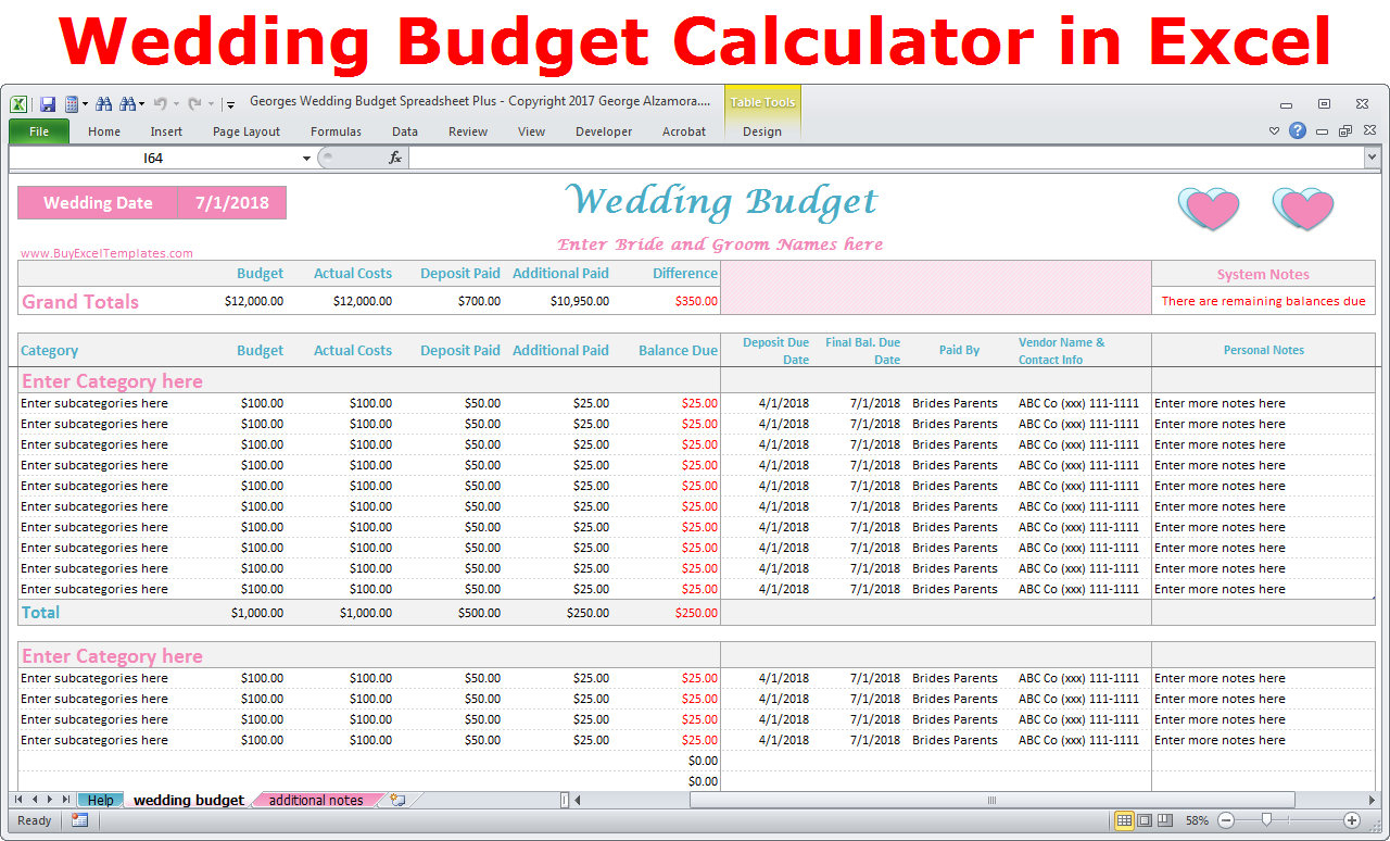 Wedding Budget Calculator Spreadsheet In Wedding Budget Cost Calculator Excel Spreadsheet Template  Etsy