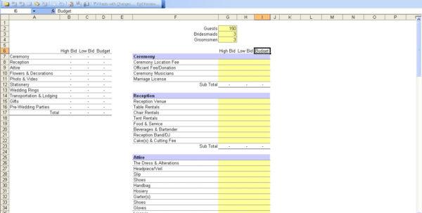Wedding Budget Calculator Spreadsheet Pertaining To 15 Useful Wedding Spreadsheets – Excel Spreadsheet