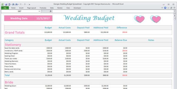 Wedding Budget Calculator Spreadsheet Pertaining To Wedding Budget Spreadsheet Planner Excel Wedding Budget  Etsy