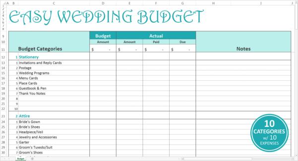 Wedding Budget Excel Spreadsheet Uk In Bills Excel Template Savvy Wedding Budget Turquoise Screen View