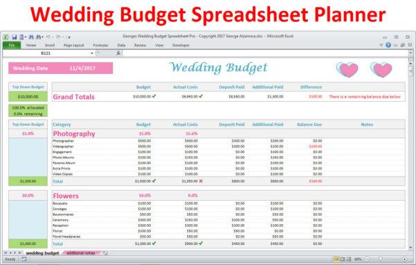 Wedding Budget Planner Spreadsheet With Regard To Wedding Planner Budget Template Excel Spreadsheet Wedding  Etsy