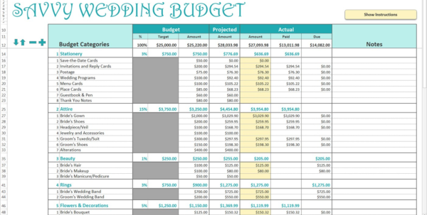 Wedding Budget Spreadsheet For 20K Pertaining To Smart Wedding Budget Excel Template Savvy Spreadsheets Spreadsheet