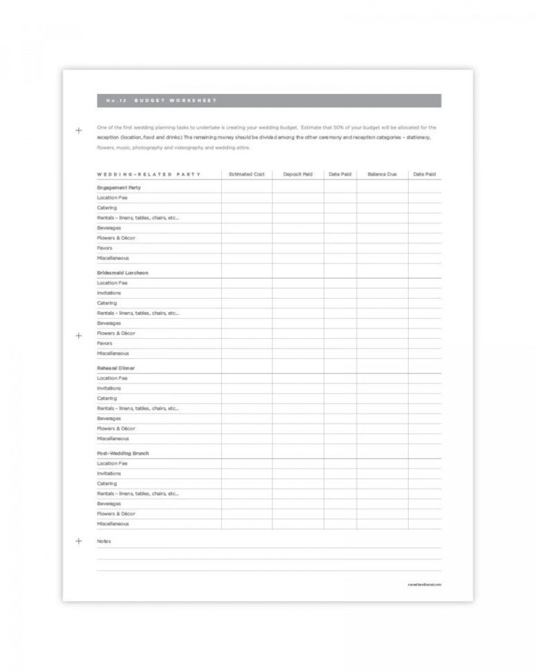 Wedding Budget Spreadsheet Pdf Within Wedding Planning Pages Pdf Download