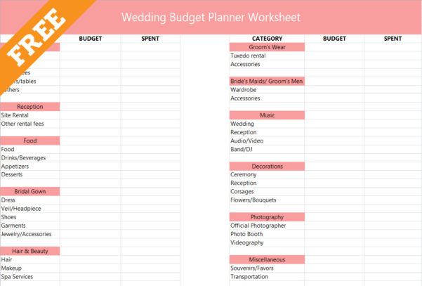 Wedding Budget Spreadsheet The Knot Within Printable Weddingudget Planner Worksheet Free Excel The Knot