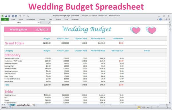 Wedding Budget Spreadsheet Uk Throughout Wedding Budget Worksheet Template Planner Example Of Spreadsheet
