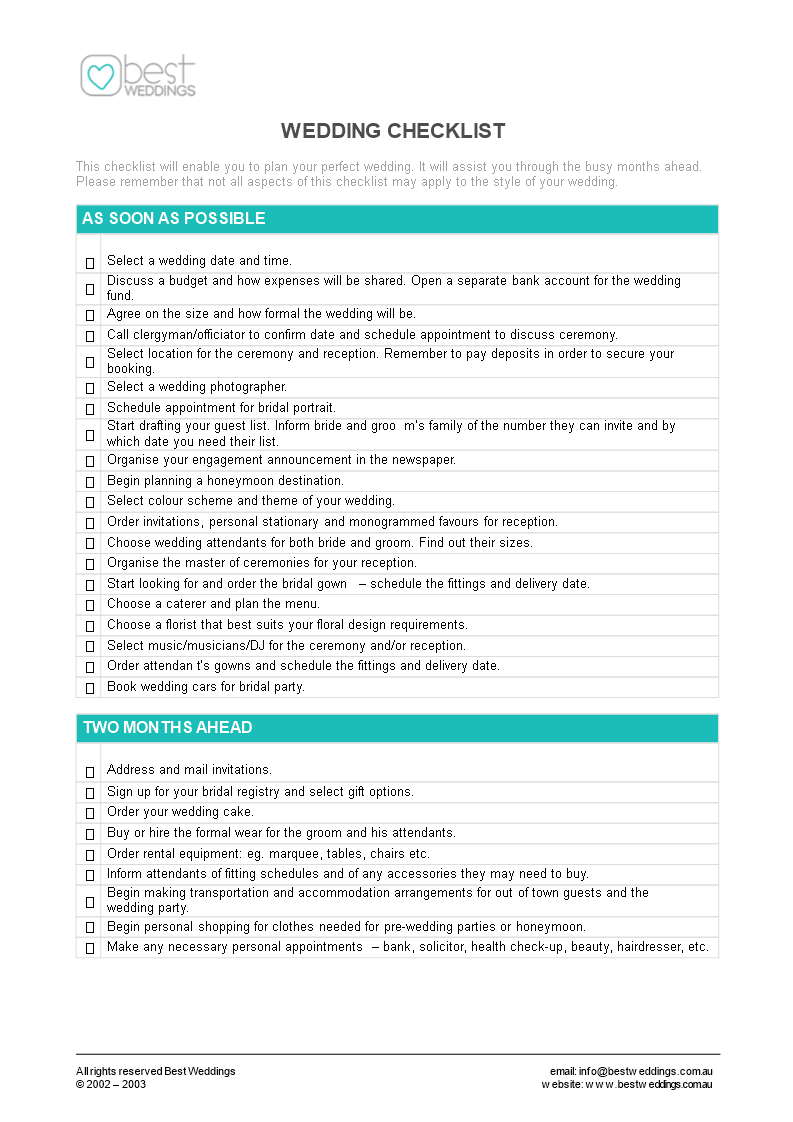 Wedding Checklist Spreadsheet Throughout Free Editable Wedding Checklist  Templates At Allbusinesstemplates