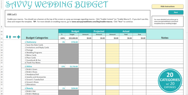 Wedding Excel Spreadsheet For Smart Wedding Budget  Excel Template  Savvy Spreadsheets