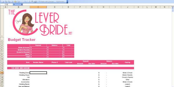Wedding Expense Excel Spreadsheet For Wedding Budget Worksheet Template Planner Example Of Spreadsheet