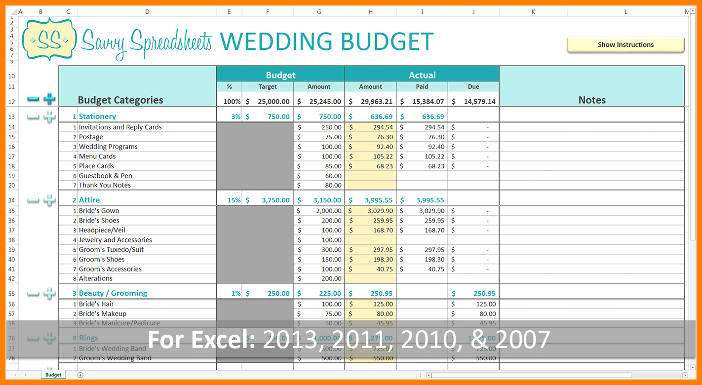 Wedding Expense Excel Spreadsheet Inside 8+ Wedding Budget Excel Spreadsheet  Credit Spreadsheet