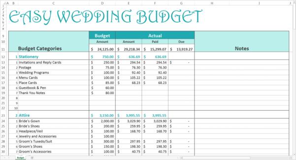 Wedding Expense Excel Spreadsheet Regarding Easy Wedding Budget  Excel Template  Savvy Spreadsheets